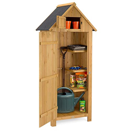 CHRISTOW Small Garden Shed, Tall Slim Wooden Outdoor Storage Shed, Compact Utility Sentry Unit, Slope Roof, Lockable Door, Shelves, Roof Hatch, 6ft