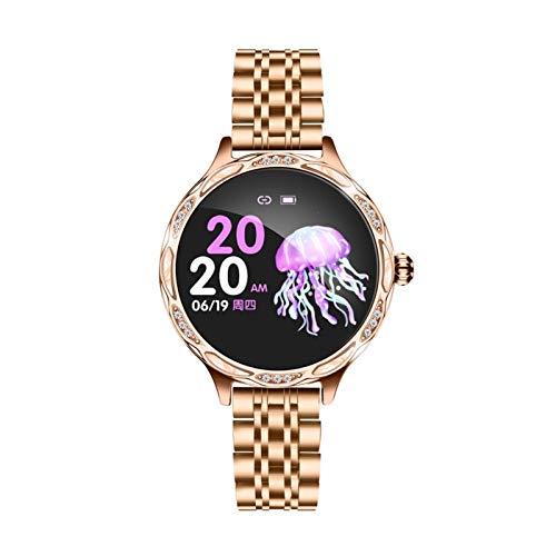guoda Mujer Reloj Reloj Inteligente, Rastreador De Actividad De Fitness, Reloj Deportivo con Pantalla Táctil Impermeable IP68, Adecuado para Hombres Y Mujeres (Color : Golden Steel Belt)