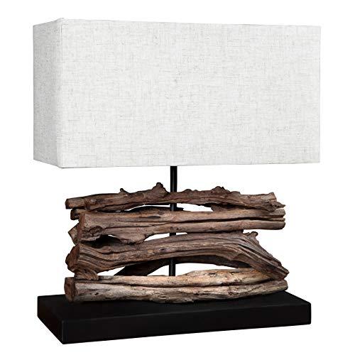 *Tischleuchte handgefertigt Design perifere Treibholz beige*