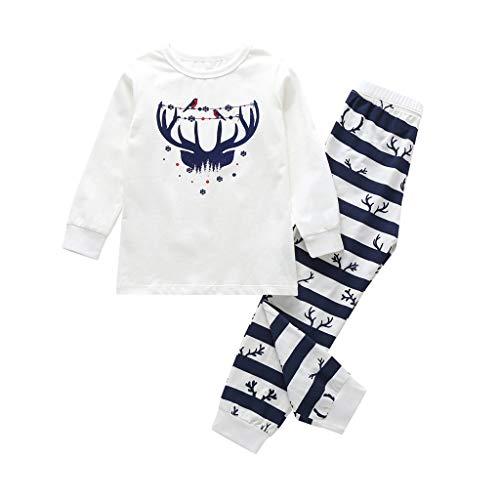 Yncc Famille Père Noël Garçon Fille Pyjamas à Deux Pièces Set Pull-Over à Manches Longues Top et Pantalon Sleepwear Renne Rayure Vêtement de Sleepsuit Pyjamas