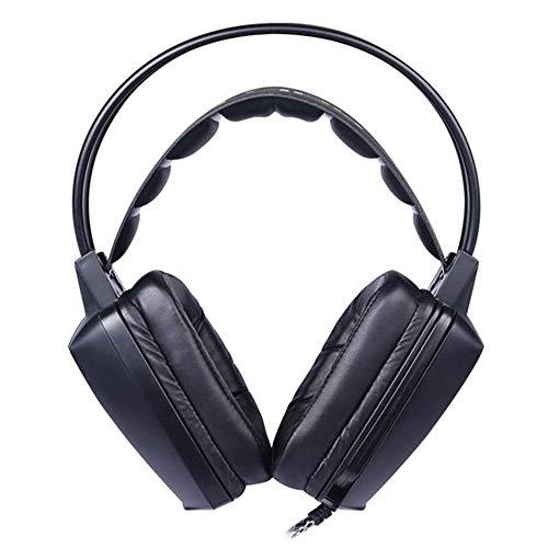 QuRRong Gaming-Kopfhörer, 50 mm, Mikrofon für Gaming-Spiele für PC / Handy, blinkende LED-Vibration für Gaming-Enthusiasten Medium schwarz