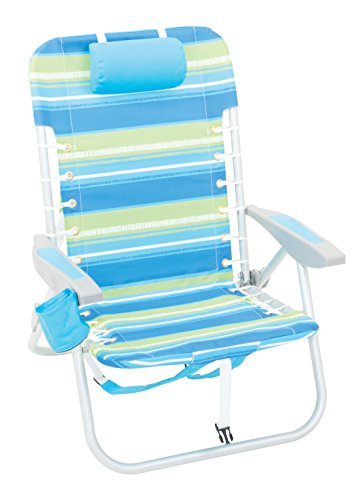 Rio Beach 4-Position Backpack Lace-Up Suspension Folding Beach Chair, Cool Blue Stripe