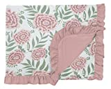 KicKee Pants Print Toddler Blanket with Ruffles, Silky Soft Baby Blankets, Viscose from Bamboo Fabric, Easy Transition from Crib to Bed (Fresh Air Florist - One Size)