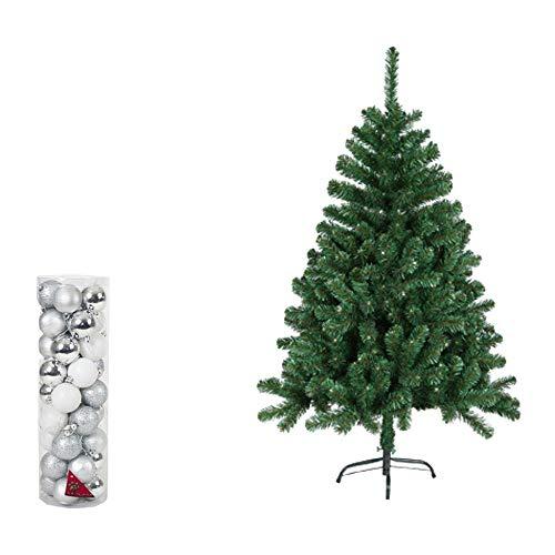 Natural Logistics Árbol de Navidad PVC con 24 Bolas Decorativas. Distintos tamaños y Colores. Kottao (Plateado, 120 cm)