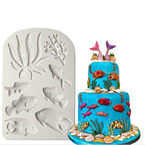 KISSFRIDAY Silikon Kuchenform Seetang Korallen fisch Schokolade Fondant Schimmel Soap Molds Silikon Backformen