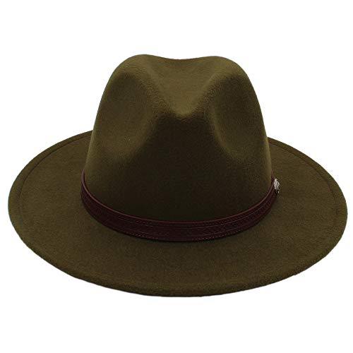 Baianf Hombres Sombrero de Fedora Clásico de ala Ancha Fieltro Floppy Cloche Cap Chapeau Gorro de Lana de imitación Otoño Invierno Sombrero para el Sol Mujeres (Color : Green, tamaño : 56-58cm)