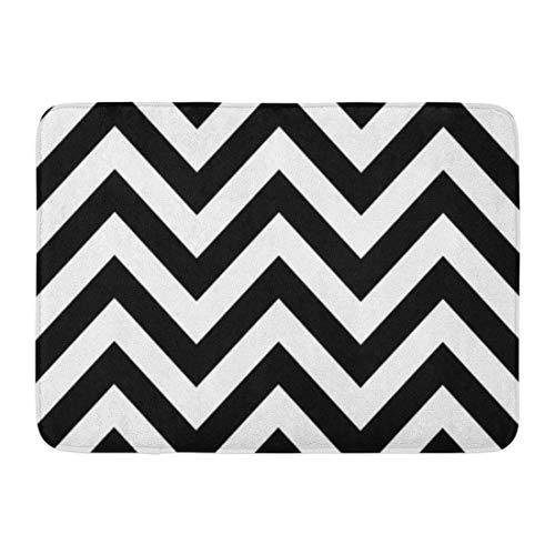 LIS HOME Bad Matte Wellen Zick-Zack-Muster schwarz weiß Retro Chevron Monochrom Badezimmer Dekor Teppich
