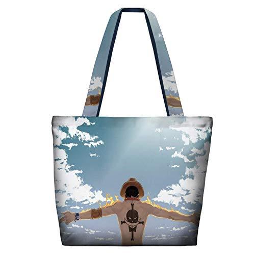 Bolso de compras reutilizable de lona Luffy de una pieza, bolso de hombro de algodón para regalo de San Valentín, regalo