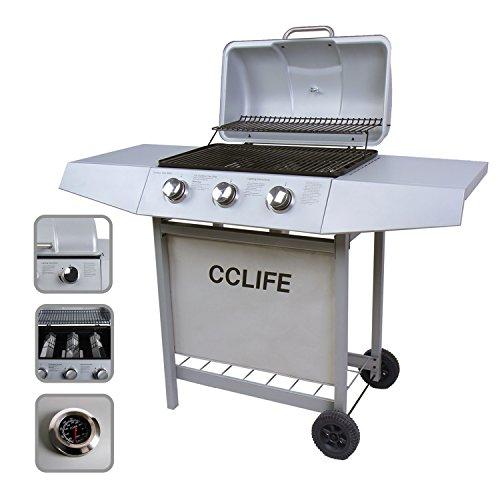 CCLIFE Carro Barbacoa de Gas Parrilla Barbacoa Gas con 3/4/5/6 quemadores BBQ, Color:Silver, Tamaño:3 Quemador