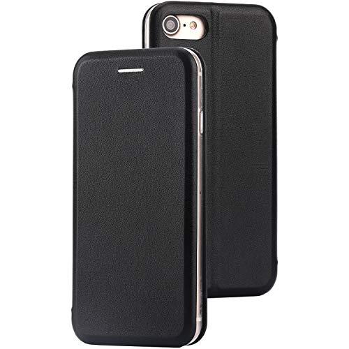 Preisvergleich Produktbild BYONDCASE iPhone 7 & 8 Flip-Case Hülle [Deluxe Leder Case] Flipcase Handyhülle mit Magnetverschluss und Standfunktion Schwarz kompatibel für iPhone 7 & 8