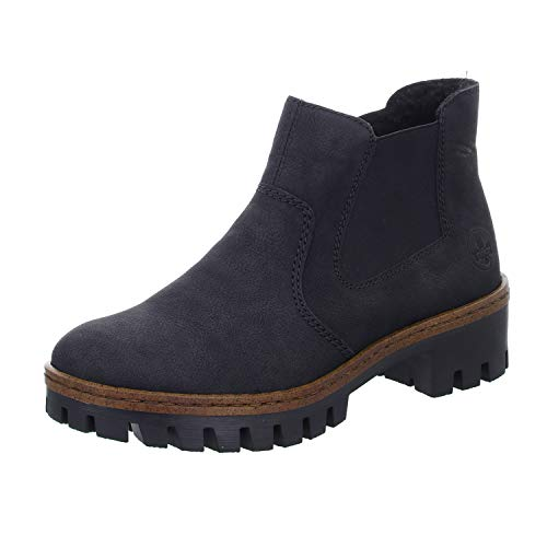 Rieker Damen Stiefeletten 75772, Frauen Chelsea Boots, halbstiefel Schlupfstiefel gefüttert Winterstiefeletten,schwarz/schwarz / 01,40 EU / 6.5 UK