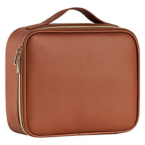 Kosmetiktasche Portable Reise Make Up Tasche PU-Leder Schminktasche Make up Organizer Wasserabweisende Kosmetische Box Make up Case , Braun