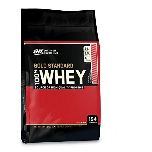 Optimum Nutrition ON Gold Standard 100% Whey Proteína en Polvo Suplementos Deportivos, Glutamina y Aminoacidos, BCAA, Fresa Deliciosa, 154 porciones, 4.54 kg, Embalaje puede variar