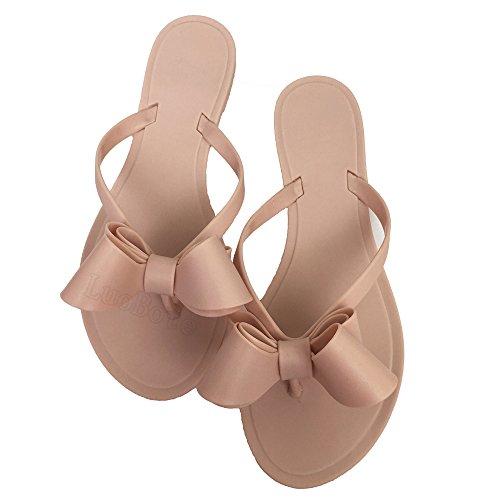 Women Rivets Bow Flip-Flops Sandals Beach Flat Rain Jelly Shoes