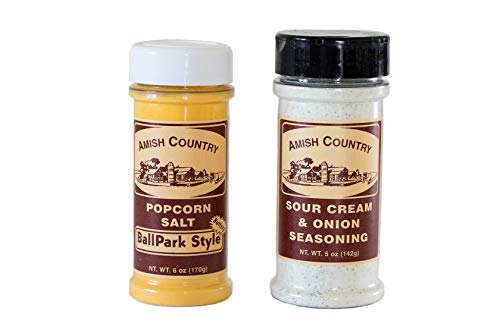 Amish Country Popcorn | Ballpark Style Buttersalt (6 Oz) & Sour Cream (5 Oz) Popcorn Seasoning | Old Fashioned with Recipe Guide