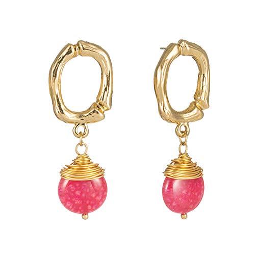Yosemite - Pendientes de aro de oreja hechos a mano con piedra geométrica, diseño de gota para mujer, color rosa