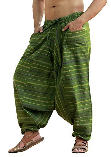 Sarjana Handicrafts Men's Cotton Harem Genie Dance Yoga Alibaba Hippie Pants (Free Size, Mahendi Green)