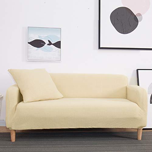 NOBCE Funda de sofá elástica de Color sólido para Sala de Estar Funda de sofá de Esquina seccional de Estilo en L elástica Universal Fundas de sofá Beige 190-230CM