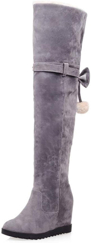 HY Damen Hohe Stiefel Wildleder Herbst Winter Plus Kaschmir Overknee Stiefel Ladies Inside Erhöhen Große Schneeschuhe Stiefel (Farbe   D, Größe   36)  | Komfort  | Haltbarer Service  | Preisreduktion