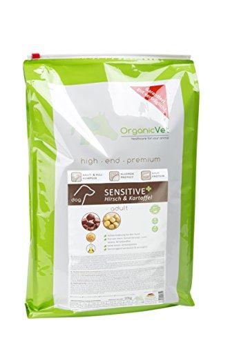 OrganicVet hond droog voedsel Sensitive + vrij van verrijdingen herten & aardappel, per stuk verpakt (1 x 10 kg)