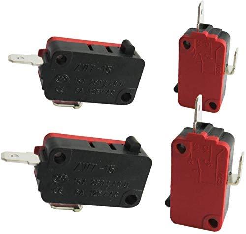 DUDDP Pièces et accessoires pour micro-ondes Réparation de la pièce / 4pcs Micro-interrupteur de la porte du four à micro-ondes universelle pour le DR52 NC (normalement fermer) 16A 125 / 250V ZW7-15-R