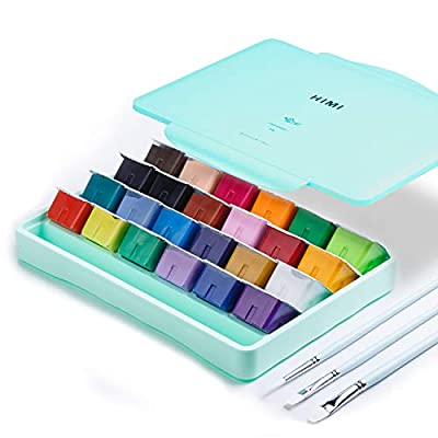 Miya Gouache Paint Set, 24 Colors x 30ml Unique Jelly Cup Design with 3 Paint Brushes in a Carrying Case Perfect for Artists, Students, Gouache Opaque Watercolor Painting (Green)
