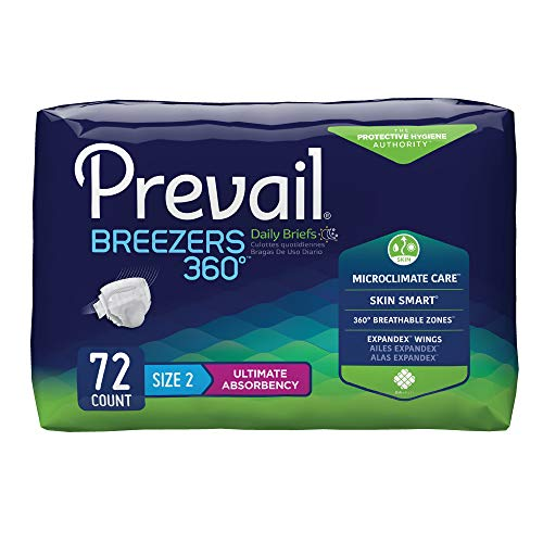 Prevail Breezers 360 Incontinence Briefs, Ultimate Absorbency, Size Two, 72 Count