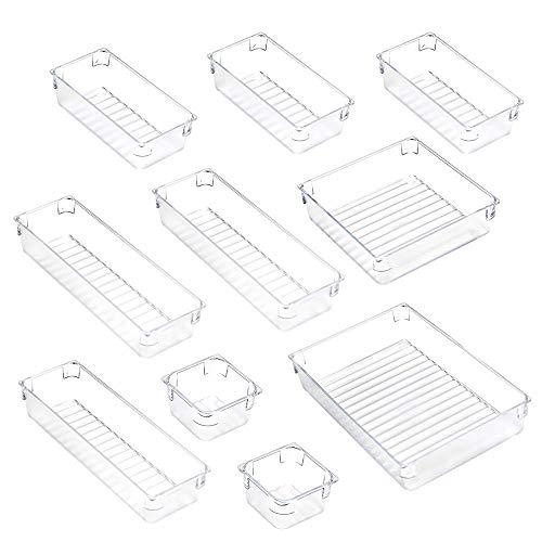 Accevo Schubladen Ordnungssystem 10-teiliges Set, Frei kombinier- und stapelbare multifunktionale Aufbewahrungsbox aus klarem Kunststoff für Küche, Büro, Kommode, Bad, Schreibtisch, etc