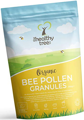 Organic Spanish Bee Pollen Granules by TheHealthyTree Company - High in Vitamins B1, B2, B9, C, E and Copper - Finest Quality Pure Raw Bee Pollen (250g)
