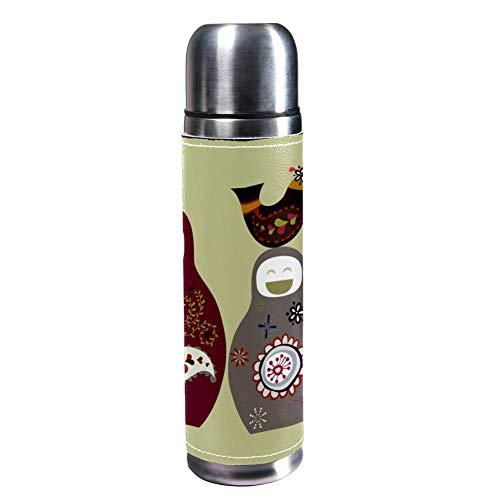 TIZORAX niedliche russische Puppen, 500 ml, Reisebecher, Kaffeetassen, Wasserflasche, Vakuum-Leder, Isolierbecher 304 Edelstahl