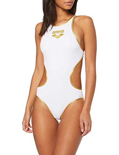 Arena One Biglogo, Costume da bagno intero, Donna, Bianco (White/Gold), 36 IT (Taglia produttore: 32)