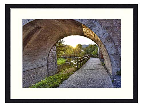 OiArt Wall Art Print Wood Framed Home Decor Picture Artwork(24x16 inch) - Bridge River Italy Small Villages Umbertide Umbria