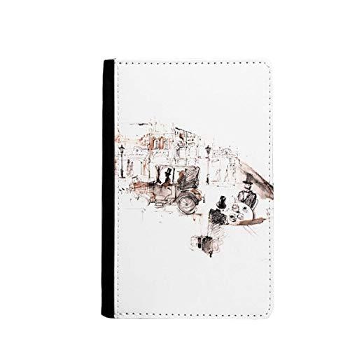 beatChong Britische Architektur Oldtimer-Aquarell-Pass-Halter Travel Wallet Abdeckungs-Fall Karten-Geldbeutel