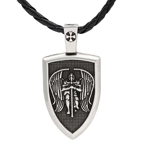 TTKP Amulet Men Necklace Archangel St.Michael Protect Me Saint Shield Protection Pendant Jewelry 2 Color
