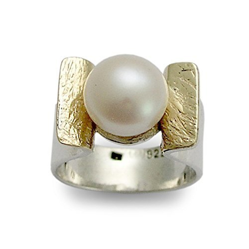Adjustable size Ring. Hammered Setting Ring Single Stone Pearl Ring