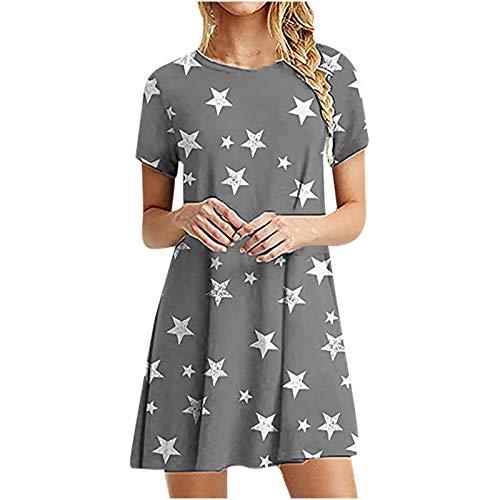 NAQUSHA Vestidos de verano para mujer Casual vestido de manga corta O-cuello señoras vestido suelto liso vestido midi para mujer (,)