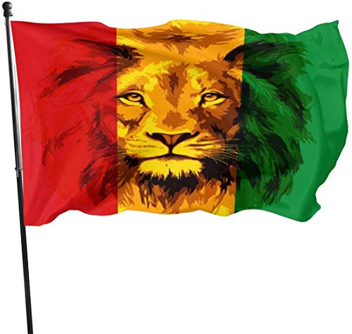 Oaqueen Flagge/Fahne Reggae Rasta Flag Lion Official Flags Durable Heavyweight House Flag Machine Washable Fade Resistant Outdoor Banner with Grommets Decorative Flags Sports 2020-3X5 Ft