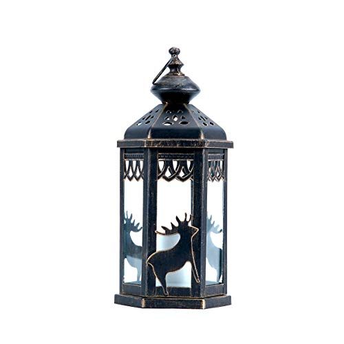 hourflik Solar Lantern,Outdoor Garden Hanging Lanterns,Waterproof LED Flickering Flameless Candle Mission Lights for Table,Outdoor,Party Decorative (Bronze)