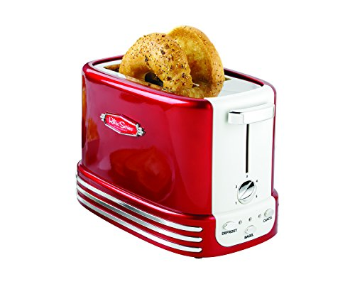 Nostalgia New and Improved Wide 2-Slice Toaster Perfect For Bread, English Muffins, Bagels, 5 Browning Levels, With Crumb Tray & Cord Storage, Retro Red
