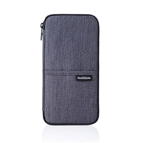 Naturehike ップ パスポートケース 財布 首下げ 海外旅行 出張 ビジネス 大容量 13ポケット 撥水加工 (Grey)