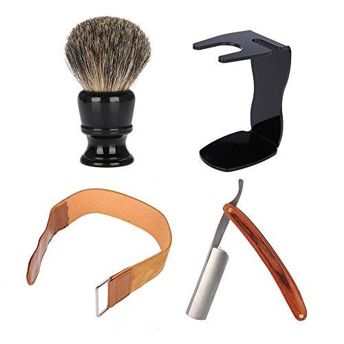 Ouderwetse scheerset met professioneel gereedschap voor het trimmen van baarden met baardborstel, baardkom, scheerapparaat en scheermesjes