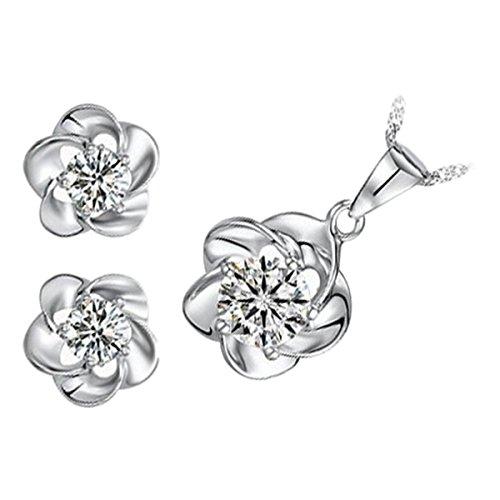GWG Jewellery Juego de Joyas Mujer Regalo Conjunto Collar y Pendientes, Bañado en Oro Blanco 18K Flor con AAA Circonita Brillante Claro de Diseño Retro a Fiesta para Mujeres