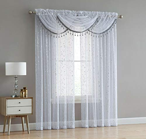 Luxury Home Textiles Adeline 5 Piece Curtain Set with Beaded Austrian VALANCES (White/Silver)