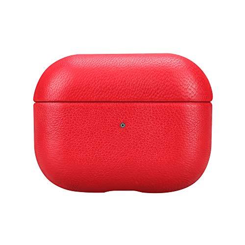Fooyin [Handmade Series] Custodia in pelle per AirPods Pro, Protettiva Cover (vera pelle di pecora) Antiurto Case Compatibile con Apple AirPods Pro, Rosso