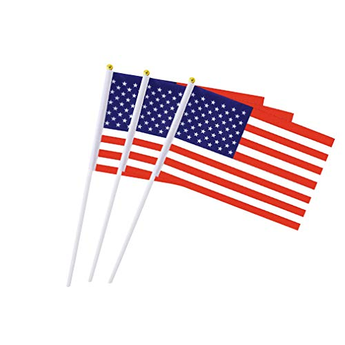 USA Flag American Flags US Hand Held Small Stick Mini Flags for Sport Parade Party Olympic Festival Decorations 1 Dozen 12 pack