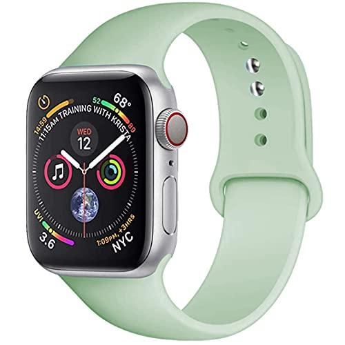 Veclothon Correa para Apple Watch Band 44mm 40mm 42mm 38mm silicona banda para iwatch pulsera series 5 4 3 2 SE 6 (42 o 44mm M-L, beril)