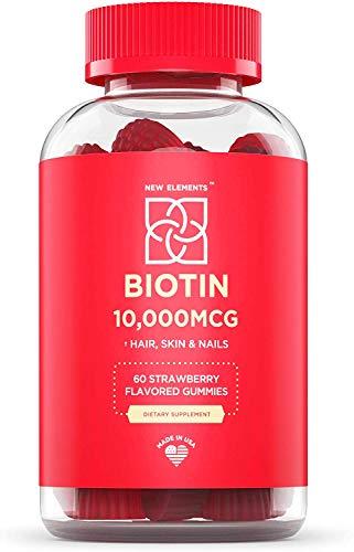 New Elements Biotin Gummies 10000mcg, Hair Skin and Nails Vitamins Made in USA, Chewable Hair Growth Supplement for Men & Women, Vegan, Pectin Based, Strawberry Flavor, Non-GMO, Gluten Free