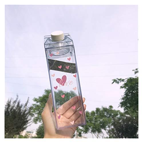 Taza de agua creativa, linda botella de leche transparente, de moda, jugo de fresa, taza de agua (capacidad: 500 ml, color: C)