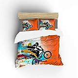 FlowerFish BMX Rider Ultra Soft Bed Set Lightweight Brushed Microfiber Fabric Bedroom Decor Best Gift for Bedroom -1Duvet Cover + 2Pillowcases, Full Size