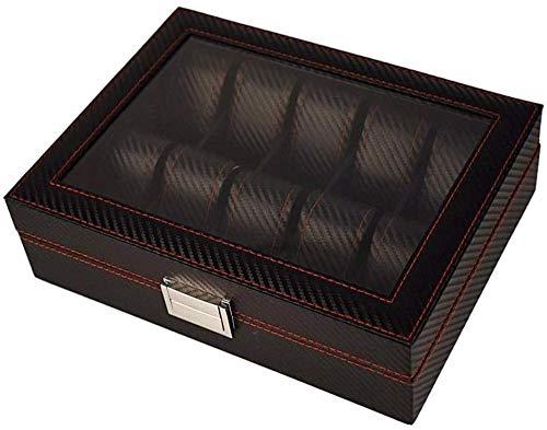 Caja de visualización de reloj 10 ranuras de reloj elegante color negro superior de fibra de carbono imitación de cuero